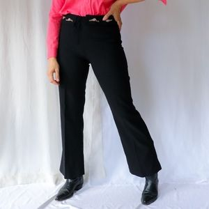 Black vintage high rise flared boho trousers with floral embroidered detail